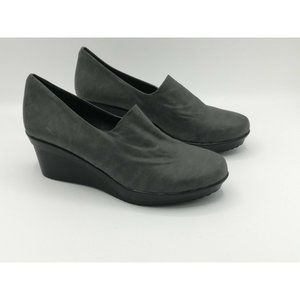 Azura Slip On Wedge Shoes Gray 38 Women's US 8